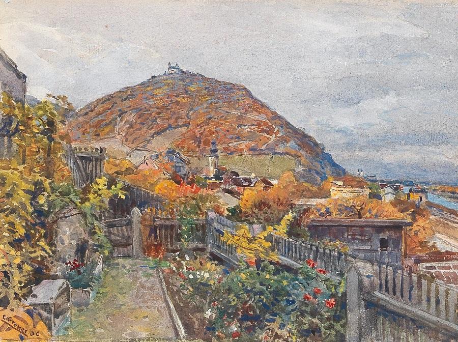 A view across Kahlenbergerdörfl to Leopoldsberg