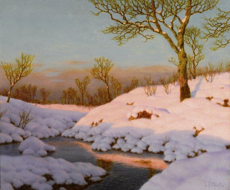 Зимний пейзаж на закате (Winter landscape at sunset)_54 х 65_х.,м._Частное собрание.jpg