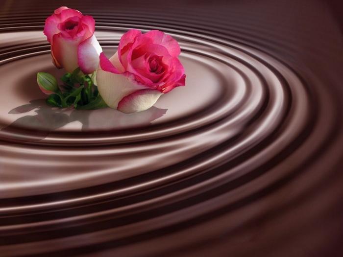 Открытки. С днем шоколада! Розы на  шоколаде