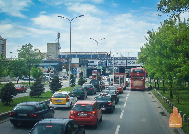 Дорога из аэропорта в Скопье