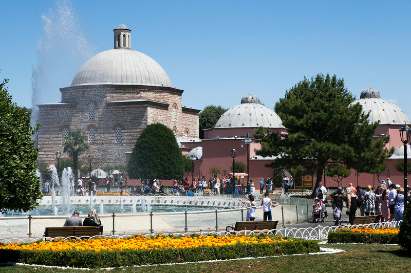 exterior of a turkish bath next to the famous hagia sofia in istanbul. A turkish bath or hammam is a variant of a steambath, distinguished by a focus on water