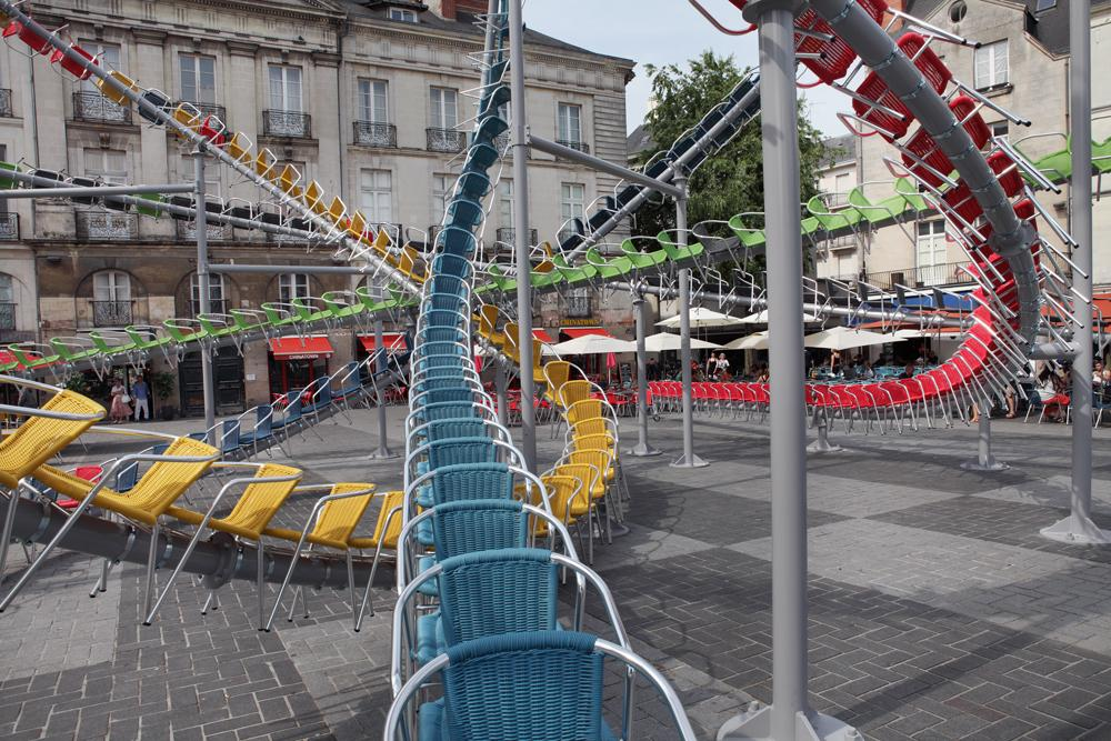 Baptiste Debombourg  (previously here and here ) has transformed a public square using the very obje