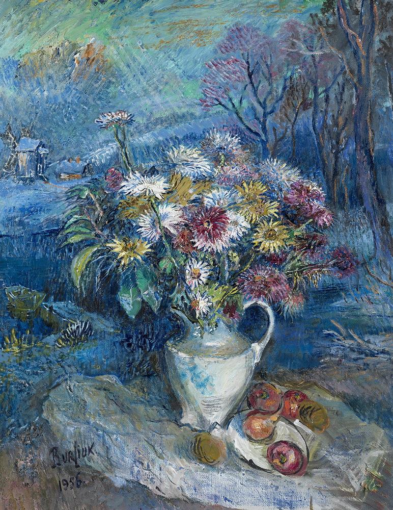 Давид Давидович Бурлюк. Цветы в белой вазе.