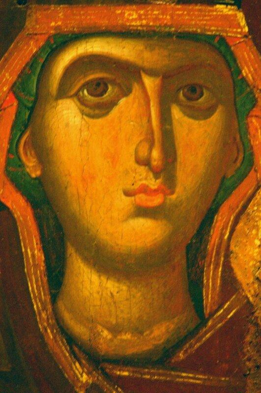 Богоматерь Одигитрия. Икона. Византия, XIII век. Византийский музей в Афинах. Фрагмент.