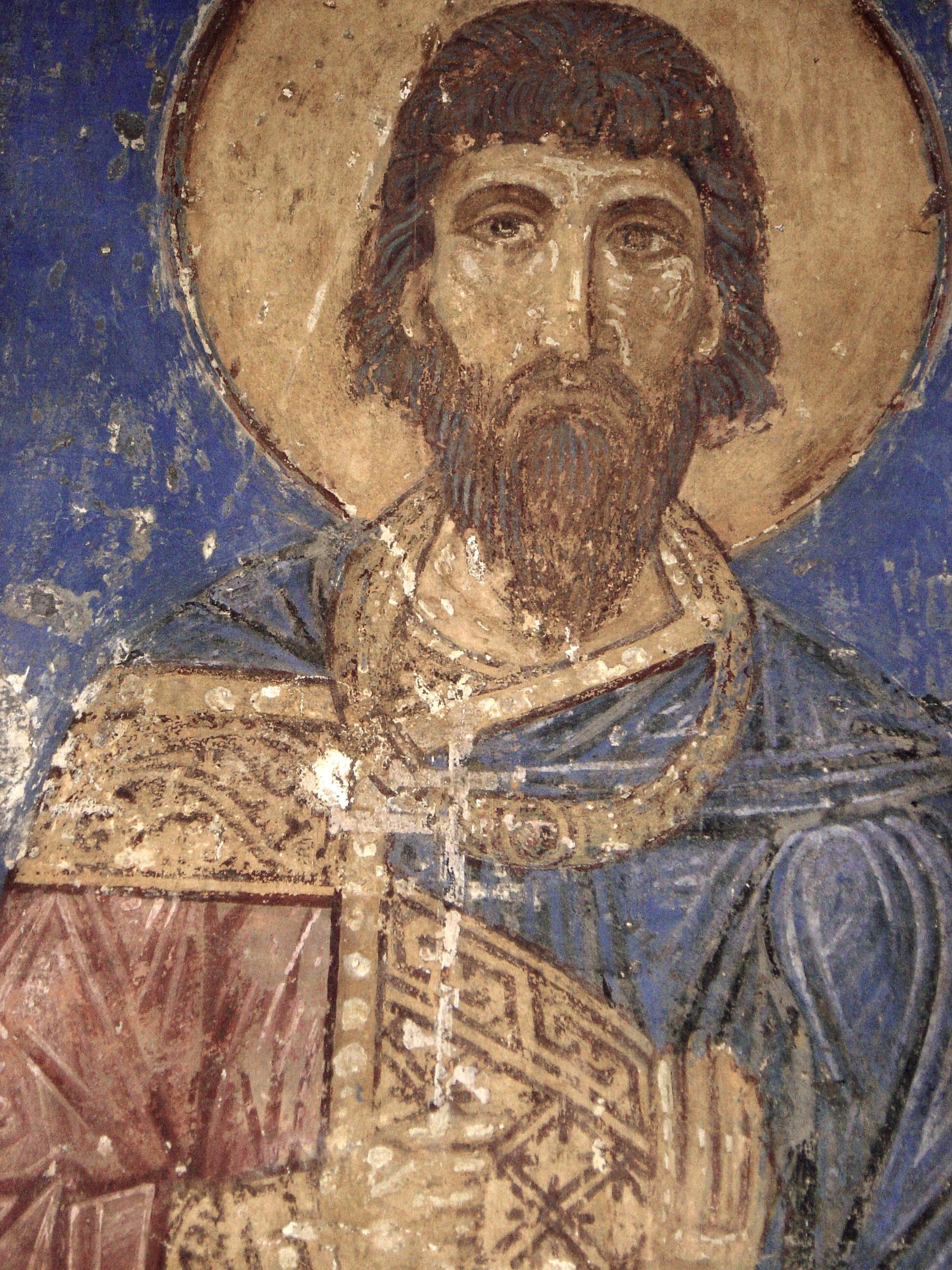 Святой мученик Евдоксий. Фреска Спасо-Мирожского монастыря. XII век.