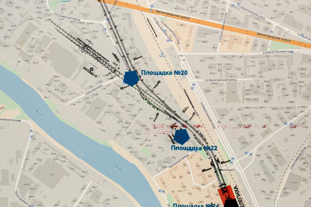 Проектируемые и строящиеся пути метрополитена за станцией Шелепиха