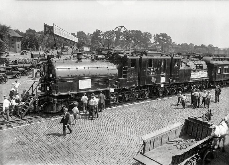 June 1924. Washington, D.C. Largest and most powerful electric locomotive in the world being exhibited by the Chicago, Milwaukee & St. Paul Railway and the General Electric Co.