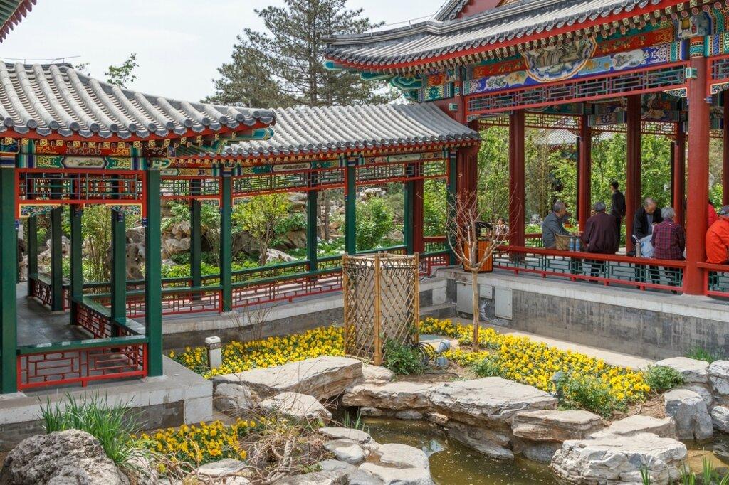 Галереи и беседка, парк-выставка садов, Пекин