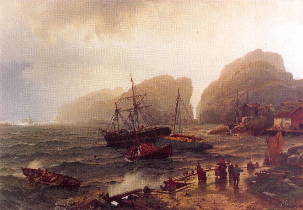 Hans Gude--Nodhavn Ved Norskekysten--1873..jpg