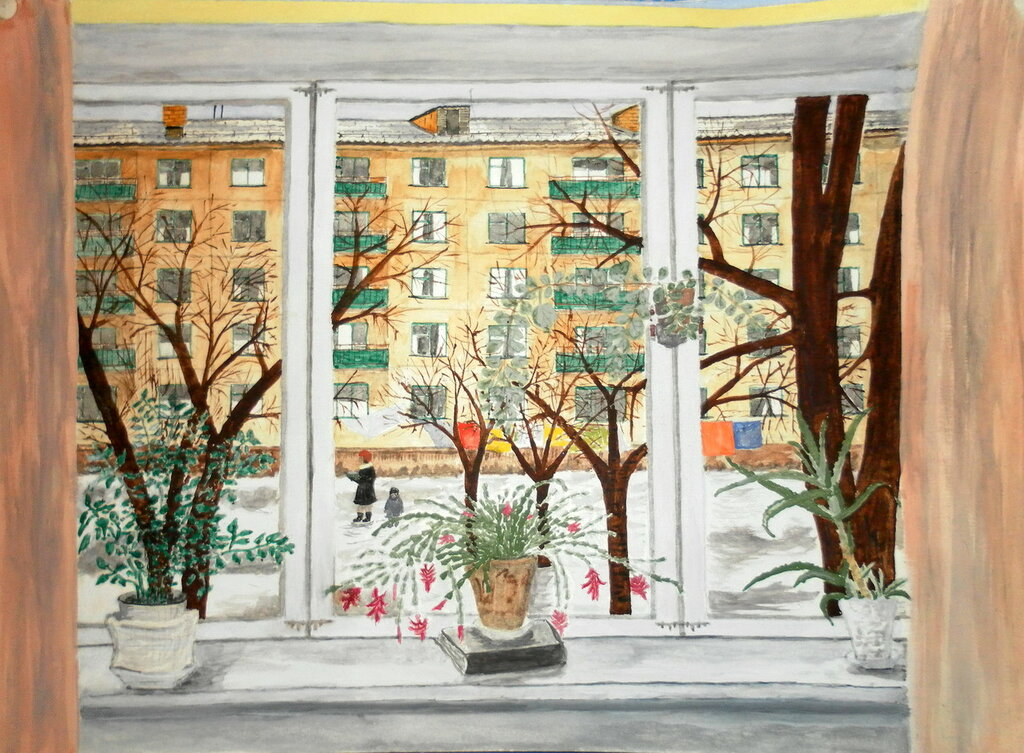 Картинки вид из окна карандашом