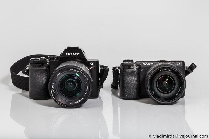 Сравнение габаритных размеров зеркальных фотокамер Sony Alpha A7R и Sony Alpha NEX-6 с объективом Sony SEL-10-18 mm F/4 OSS