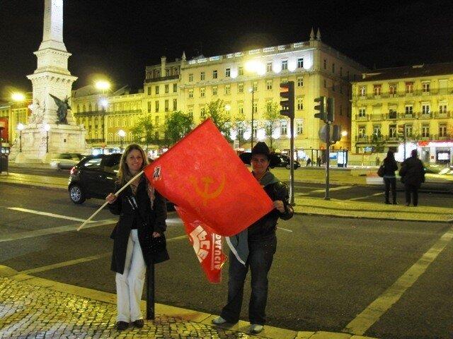 Португалия коммунисты красный флаг Лиссабон забастовка