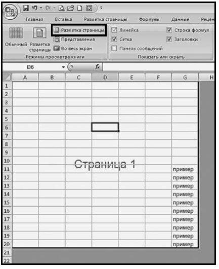 Рис. 1.22. Табличное поле при режиме разметка страниц (предварительный просмотр)
