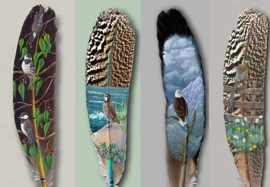картины на перьях
