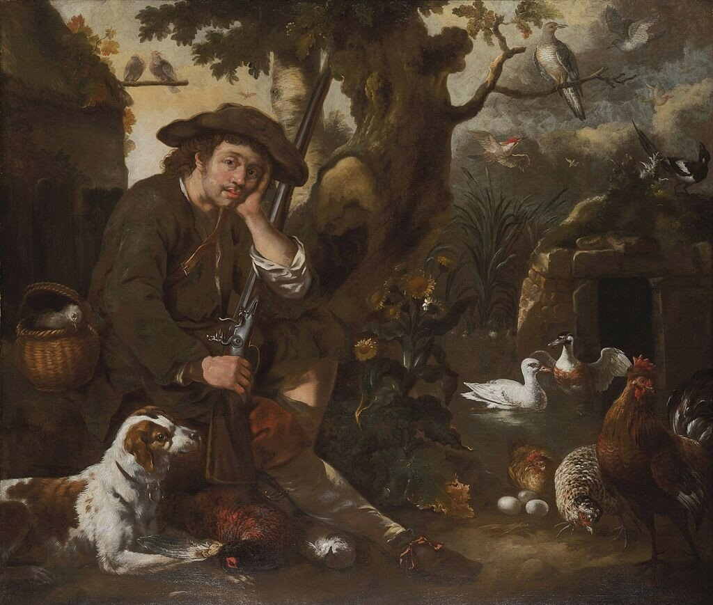 Bernhard_Keil_-_A_huntsman_resting_by_a_tree_with_a_hound,_chickens_and_other_birds.jpg