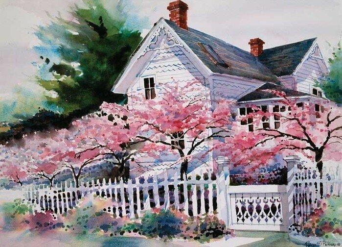 В розово-белом цвету весна. Акварели Richard Salvador Hernaes