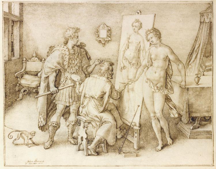 около 1600 Ян ВИРИКС Jan Wierix - Apelles painting Campaspe.jpg