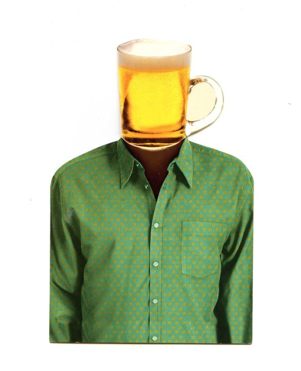 С днем пивовара! Человек с пивной кружкой вместо головы
