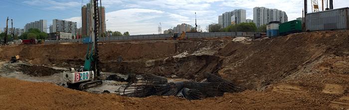 Строительство котлована метро станции Нижегородская улица