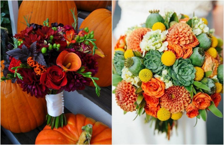 Удивительные свадебные букеты для осенней свадьбы