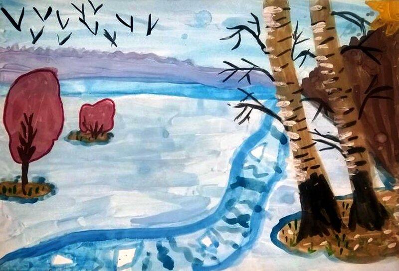 Первые проталины - Замбровская Полина Анатольевна, 6 лет, Тема -- Рисунок, п. Железнодорожный (Подольский р-н).jpg