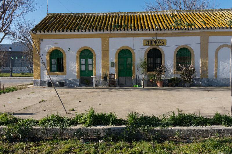 заброшенная железнодорожная станция Чипиона на велодорожке Camino natural via verde de Chipiona