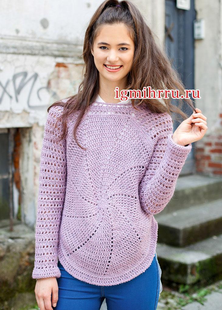 Оригинальный розовый пуловер с круговыми мотивами. Вязание крючком