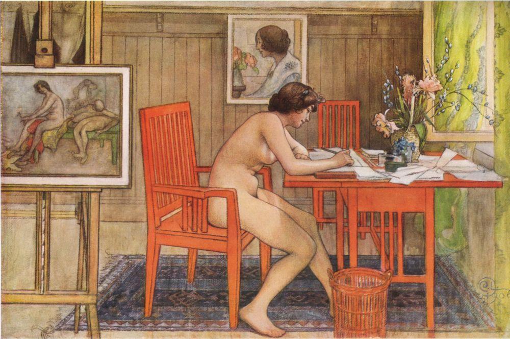 Натурщица, пищущая открытки. 1906г.(4000 пикс.)
