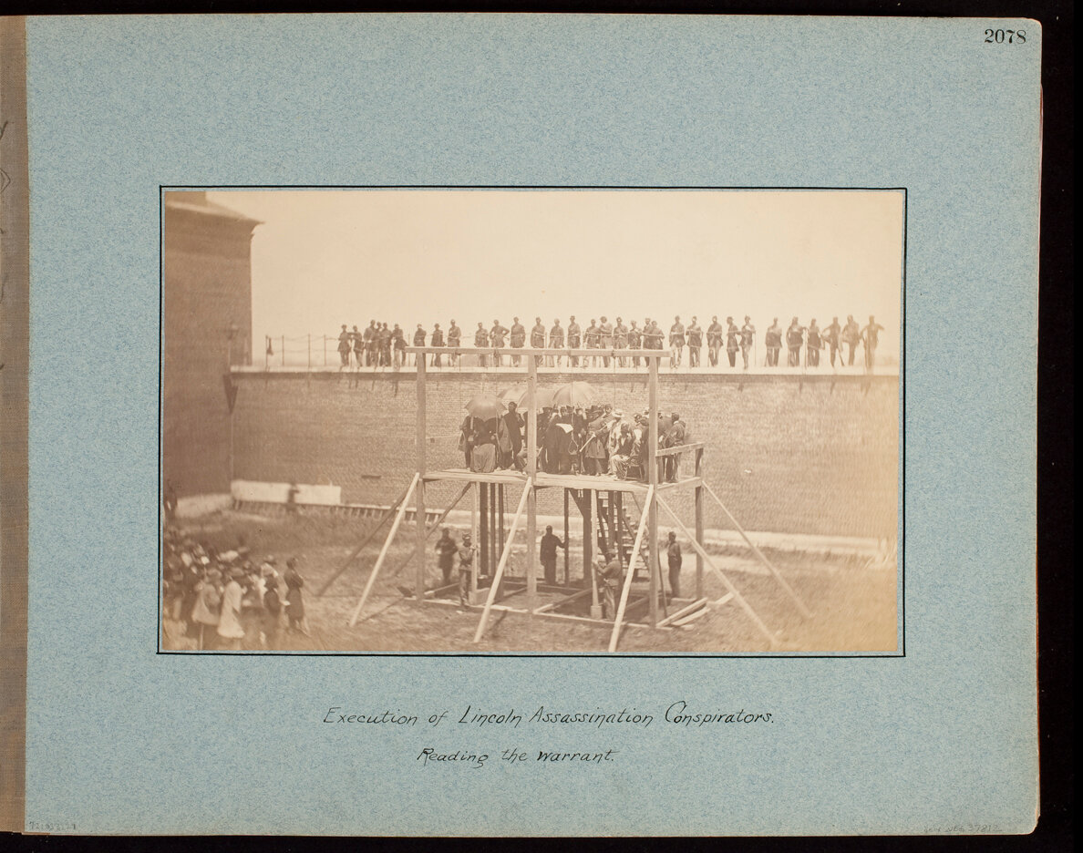 Execution of Lincoln Assassination Conspirators. Reading the Warrant.