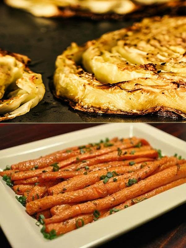Два рецепта запеченных овощей: «Капуста, запеченная с лимонным соком и чесноком» и «Морковь, запеченная с приправами»