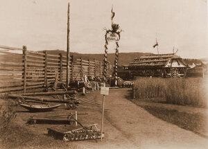 Экспонаты выставки у павильона лесоводства.