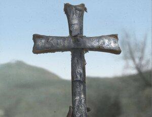 Серебрянный крест на церкви возле Местиа