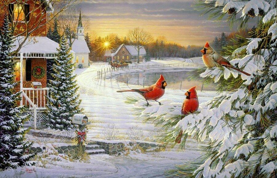 Нарисуй, художник мне, Снежно - сказочную зиму, Чудный домик на пригорке...