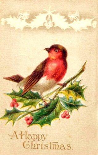 С Рождеством !!! Птичка.