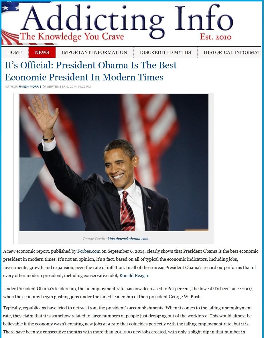 Обама -- лучший президент современности в экономике. Это официально.
