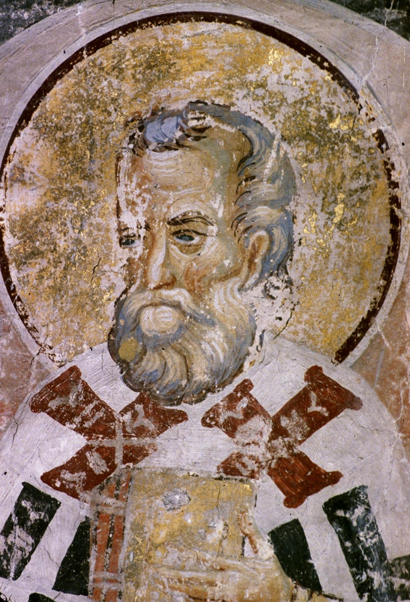 Святой Преподобный Евмений, Епископ Гортинский. Фреска монастыря Раваница, Сербия. 1380-е годы.