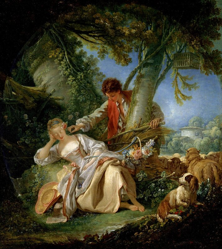 François Boucher, French, 1703-1770  Title The Interrupted Sleep  Date 1750  Material Oil on canvas  Measurements Overall 32 1/4 x 29 5/8 in. (81.9 x 75.2 cm); painted surface (irregular oval) 31 x 27 3/4 in. (78.7 x 70.5 cm)  Description S
