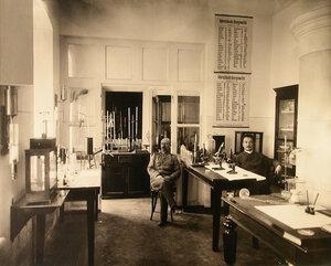 Работники химико-аналитической лаборатории экспертного комитета выставки в помещении лаборатории.