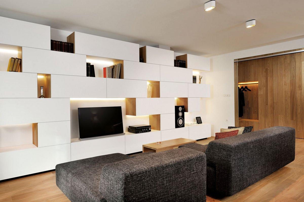 Miran Kambic, Lidija Dragisic, квартира в Любляна, дизайн интерьера Словения, Geometric Residence, интерьер небольшой квартиры фото