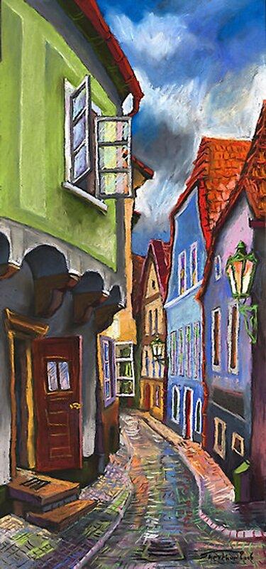 Cesky Krumlov Old Street 1 Painting by Yuriy Shevchuk - Cesky Krumlov Old Street 1 Fine Art Prints and Posters for...