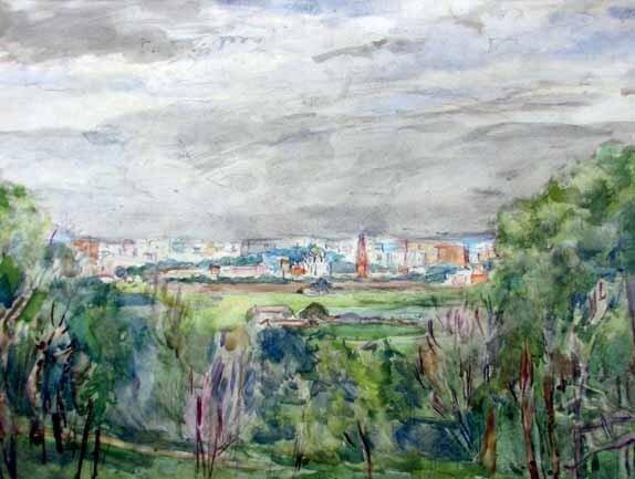Аристарх Васильевич Лентулов (1882—1943) Москва. Вид с Воробьёвых гор. 1930-е Бумага, акварель.