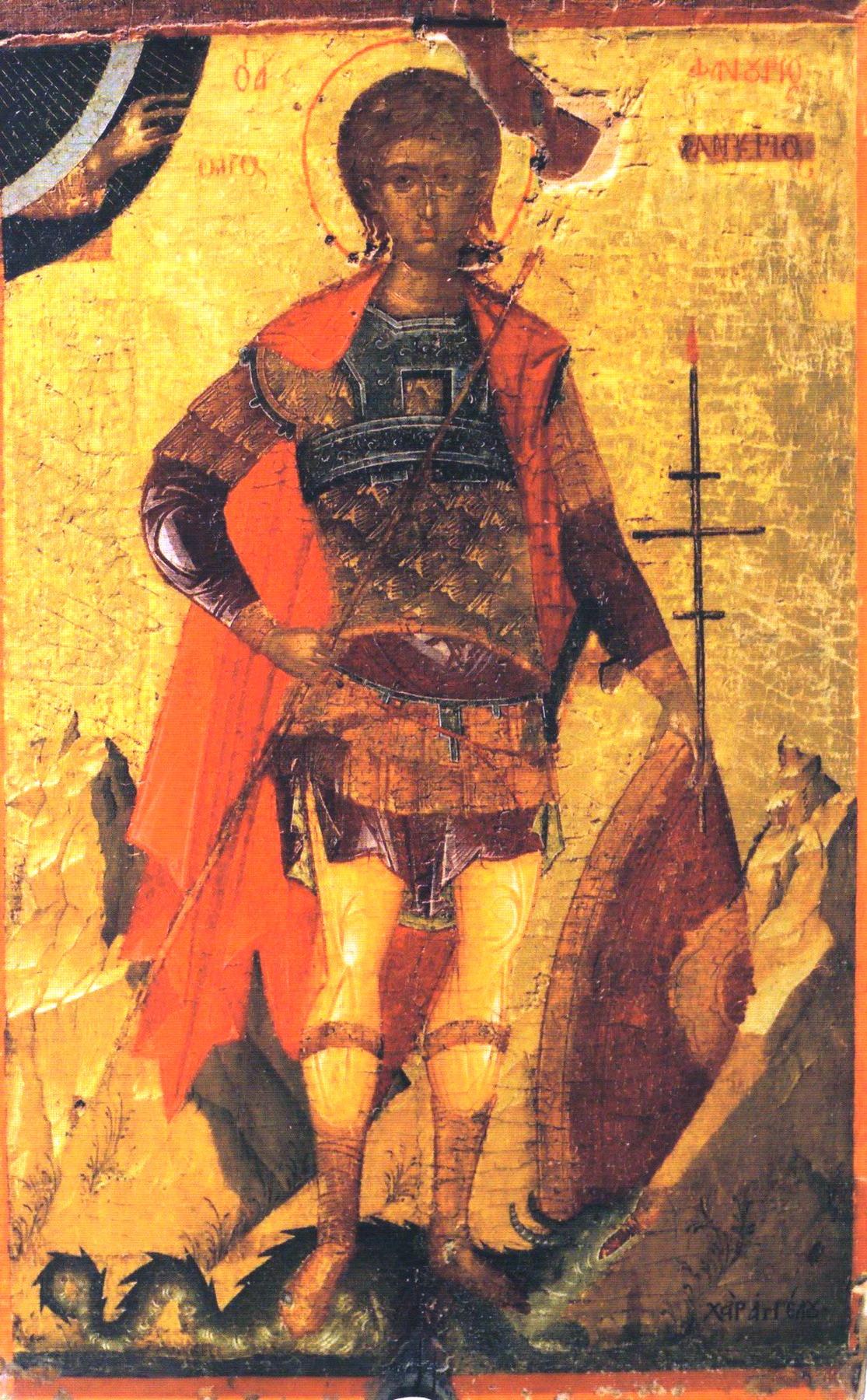 Святой мученик Фанурий. Икона критской школы XV века. Иконописец Ангелос.