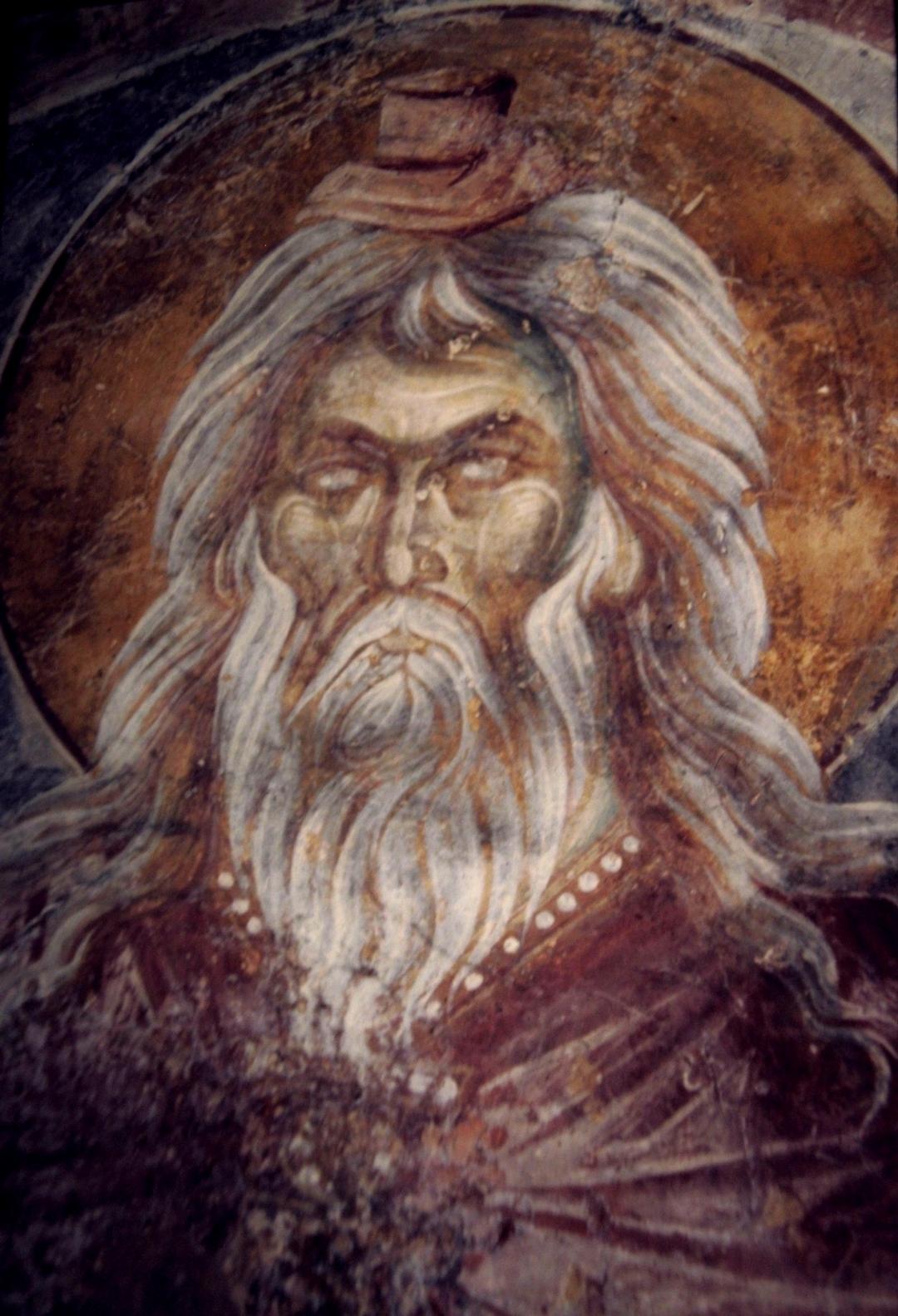 Святой Пророк Захария, отец Св. Иоанна Предтечи. Фреска монастыря Вронтохион (Бронтохион) в Мистре, Греция. 1296 год.