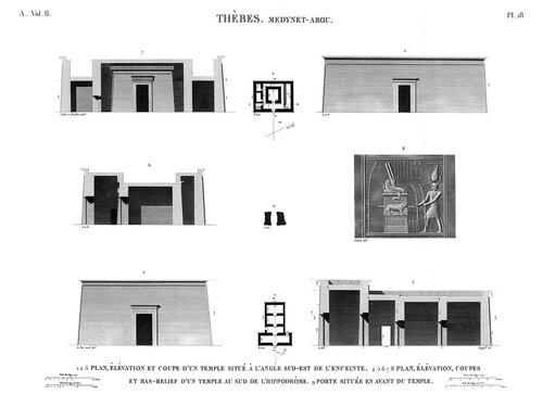 Дворец Рамсеса III в Мединет-Абу, малые храмы на территори комплекса и около него, чертежи