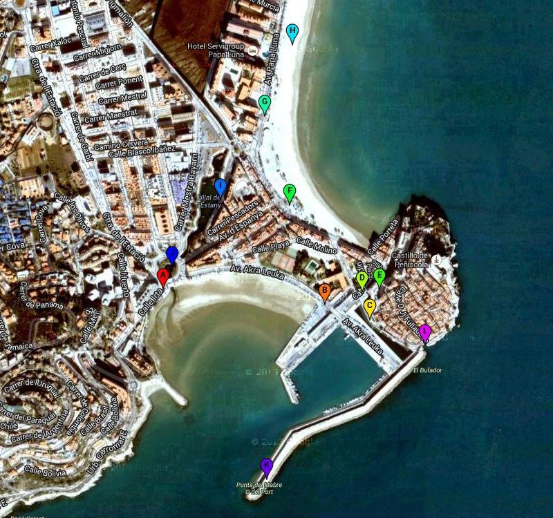 Маршрут прогулки по Пеньисколе. Пляжи, город, и порт.