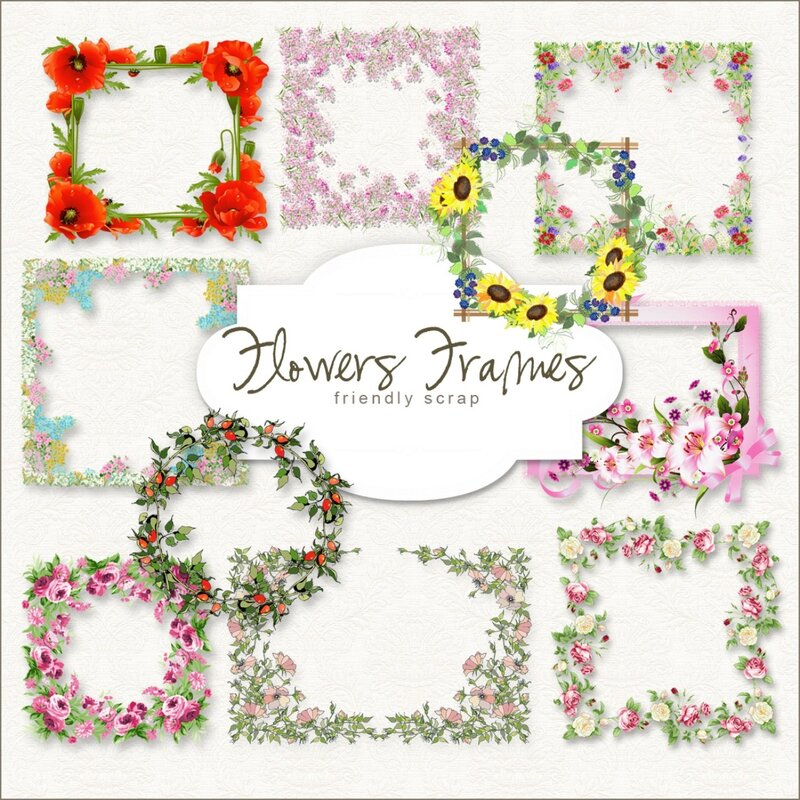 Scrap-kit - Spring Flowers Cluster Frames
