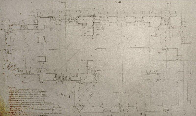 Обмеры церковь Николы Мокрого перед разборкой. Чертежи П. Максимова. План второго этажа.