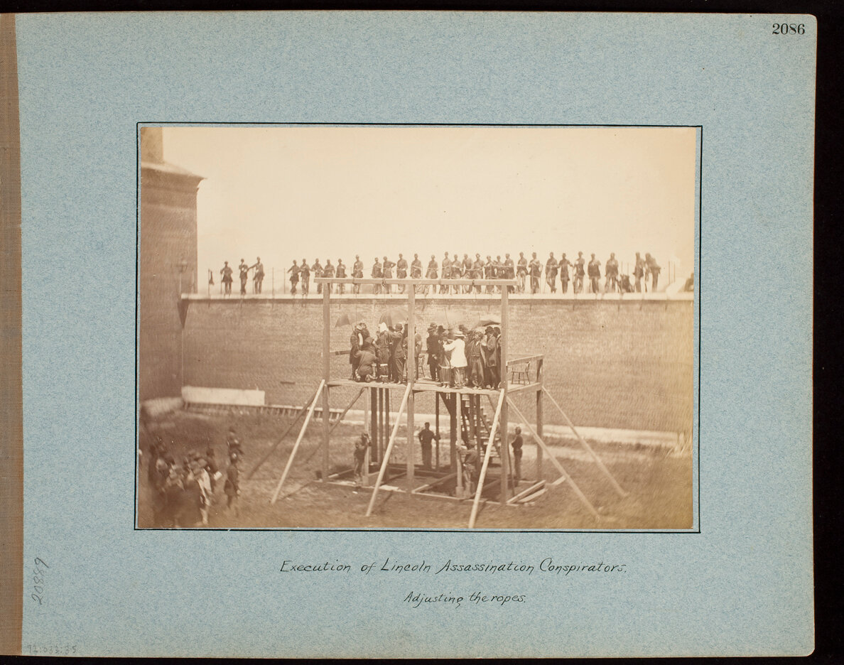 Execution of Lincoln Assassination Conspirators. Adjusting the Ropes.