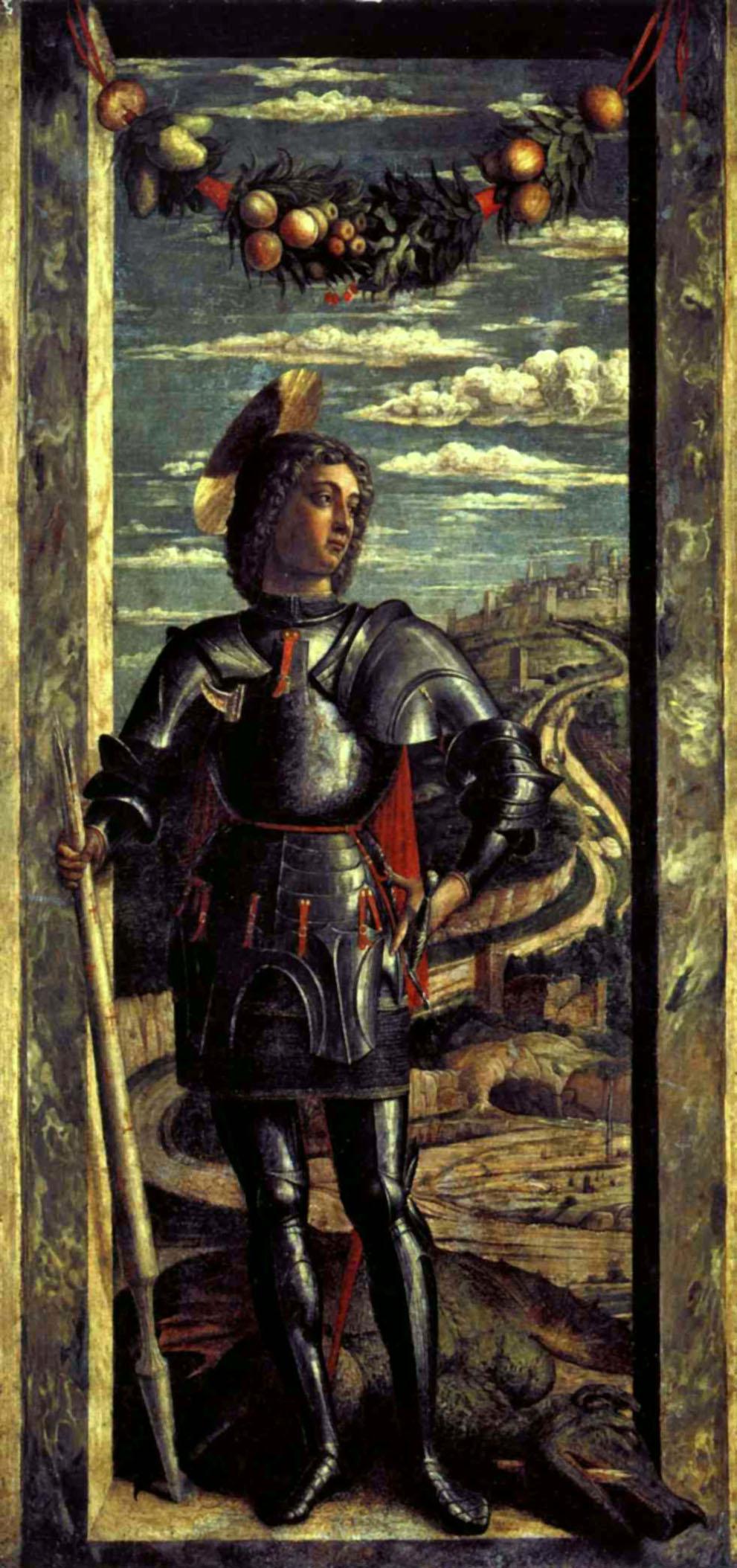 1460 MANTEGNA, Andrea St George c. 1460 Tempera on panel, 66 x 32 cm Gallerie dell'Accademia, Venice.jpg
