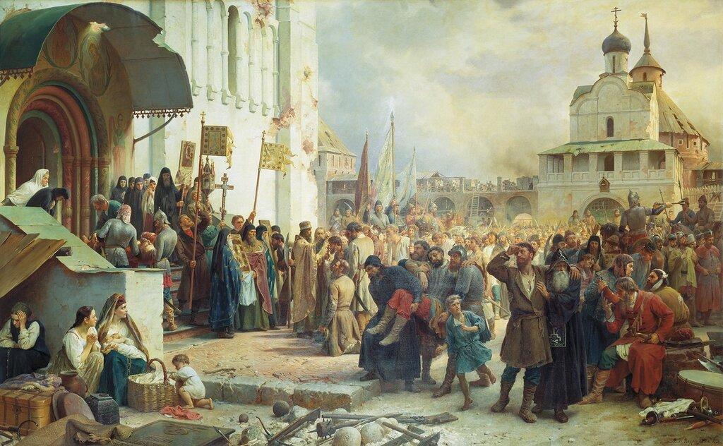 1067.Vereshagin.Vasiliiy.Petrovich.(1835-1909).Osada.Troice-Cergievoiy.lavry.1891.holst.maslo.282h458.jpg